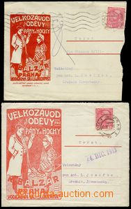 29777 - 1914 2 pcs of various envelopes with red decorative addition