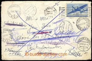 29809 - 1963 USA  Airmail-letter to Czechoslovakia několikráte red