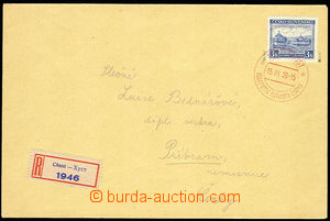 29818 - 1939 Reg letter with Pof.351, Opening of Congress, red speci