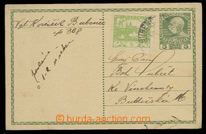 29834 - 1919? PC Franz Joseph 5h with uprated by. 5h Hradčany, CDS