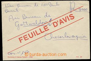29866 - 1955? BRAZIL  form/blank envelope FEUILLE D´AVIS on/for regi