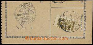 29867 - 1919 ústřižek dobírkové poukázky vyfr. půlenou doplat