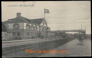 29891 - 1924 Alfvesta - nádražní  budova s tratí, prošlé, bez