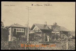 29894 - 1920 Grums - nádražní  budova s tratí, prošlé s raz. V