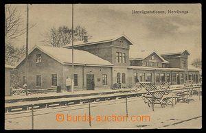 29902 - 1920 Herrljunga - nádražní budova s tratí v zimě, nepro