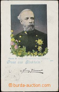 29912 - 1899 Oscar II., King Sweden and Norway, portrait with text G