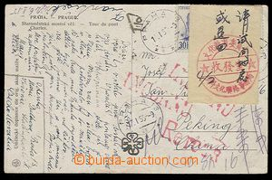 29918 - 1955 CHINA  postcard returned to Czechoslovakia with postmar