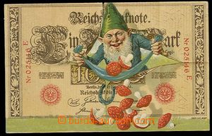 29922 - 1910 gnome with muchomůrkami with bankovkou, color naivní