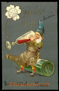 29923 - 1905 Gnome with wine and four-leaf clover, embossed, gilt, H