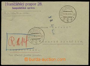 29985 - 1938 Reg letter with FP-postmark 10/ 17.XI.38 supplemented w