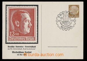 30022 - 1938 German PC with additional-printing stamp. with portrait
