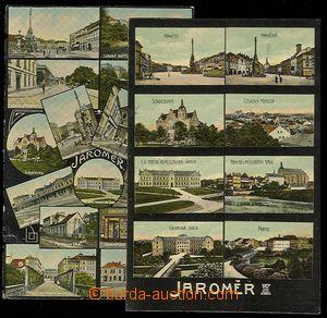 30054 - 1910 JAROMĚŘ - 2ks víceokénkových pohlednic na černém pozadí