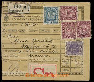 30096 - 1917 větší část náhradní poštovní průvodky opraven