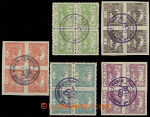 30140 -  5 pcs of bloks of four stamps Hradčany with official postm