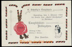 30185 - 1908 invitation card for dance večírek in/at hotel Reichsh