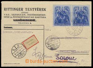30193 - 1938 firemní lístek vyfr. zn. Mi.2x 553, DR Losonc/ 38.XI.