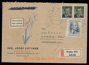 30195 - 1949 ČSR II,  R-dopis vyfr. zn. Pof.499, 2x 504, uloženo,