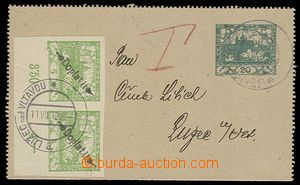 30196 - 1919 CZL1 sent in/at postal rate II, burdened by postage-due
