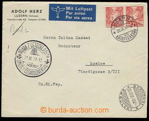 30268 - 1937 RAILWAY + AIRMAIL  SWITZERLAND  commercial air-mail let