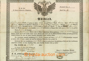 30288 - 1855 Austria  letter of discharge from army, issued in/at Uh