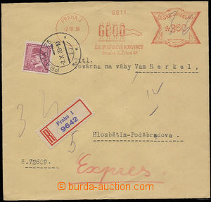 30301 - 1936 Reg and Express letter with mixed franking meter stmp a