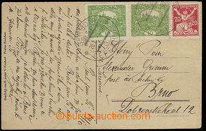30302 - 1920 postcard with 2x 10h green Hradčany + 20h issue Chainb
