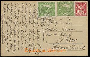 30302 - 1920 pohlednice vyfr. zn. 2x 10h zelená Hradčany + 20h OR