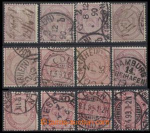 30452 - 1875-90 12ks zn. 2M fialová, Mi.37, různé barevné odstí