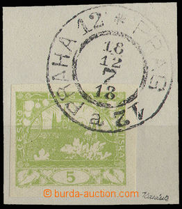 30553 - 1918 First Day použití(!), cut square with stamp. 5h green