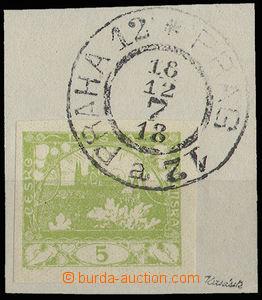 30553 - 1918 1.den použití(!), výstřižek se zn. 5h zelená a DR