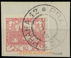30554 - 1918 First Day použití(!), cut square with stamp. 10h red