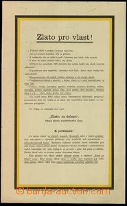 30581 - 1916 Rakousko  agitační leták Zlato pro vlast, zachovalé