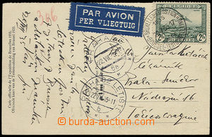 30590 - 1935 by air mail sent postcard to Czechoslovakia, with 2Fr,
