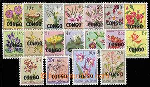 30600 - 1960 Mi.11-28, Květiny s přetiskem CONGO, kompletní séri