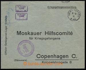 30608 - 1916 DENMARK  P.O.W. mail - pre-printed envelope sent to Mos