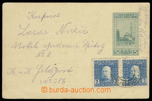 30615 - 1918 Bosnian PC 5h franked with. two stamps. FP 2h, Mi.23 wi