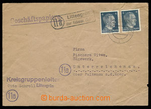 30628 - 1944 German postal agency pmk LITTENGRÜN über Falkenau (Eg