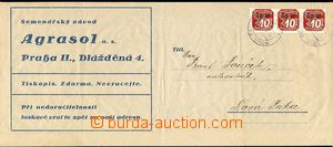 30651 - 1940 comercial print mail unusually franked with strip of th