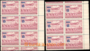 30966 - 1949 1949 Pof.K L31a, 2x 6block with right margin, 2x with t