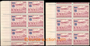 30967 - 1949 1949 Pof.K L31a, 2x 6block with left margin, 2x with to