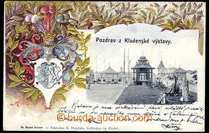 31008 - 1902 Kladno - Salute from exhibition,  B/W. view pavilonů +