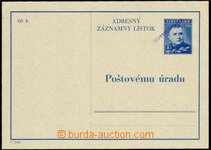 31141 - 1945 CAZ3, address zázn. card with hand-made violet overpri