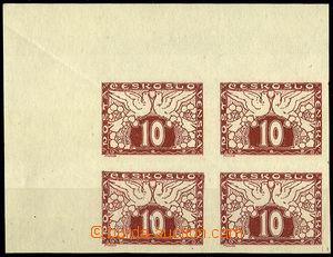 31440 - 1919 Pof.S3 ve 4-bloku, rohový kus s archovým obtiskem, le