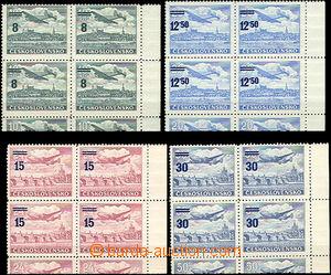 31484 - 1949 Pof.L29-32KD Přetisková provizoria, 4-bloky s pravým