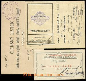 31812 - 1888/1924 sestava 3ks osobních dokladů : členský průkaz