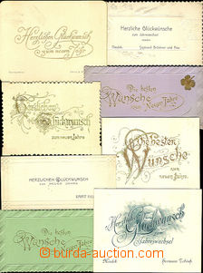 31996 - 1900/? 8 pcs of paper slips with wish to New Year in German,
