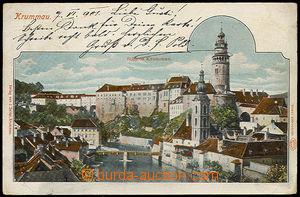 32113 - 1901 Český Krumlov - view of castle, color lithography, lo