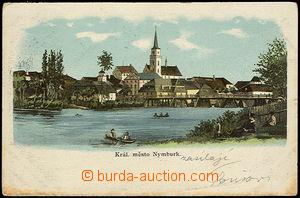 32114 - 1905 NYMBURK - color view of church and foot bridge, long ad