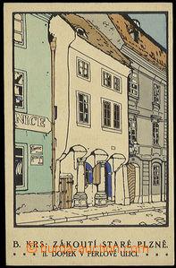 32115 - 1930? Plzeň - kresba B. Krs: Zákoutí staré Plzně - dome