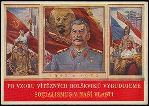 32222 - 1952 Stalin a robotníci, barevný triptych k VŘSR, vydal �